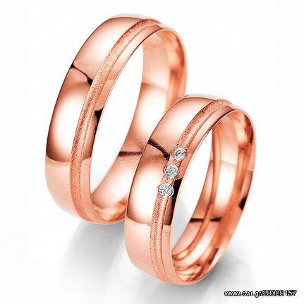 Ροζ Χρυσή Βέρα Γάμου Breuning με ή χωρίς Πέτρες WR325R diamonds k18