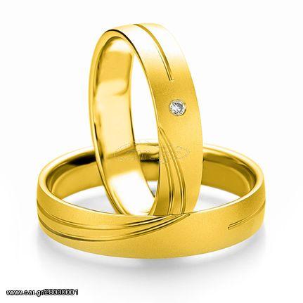 Κίτρινη Χρυσή Βέρα Γάμου Breuning με ή χωρίς Πέτρες WR309 diamonds k14