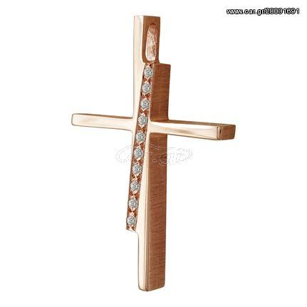 Σταυρός Βάπτισης Γυναικείος Σε Ροζ Χρυσό 14 Καρατίων Με Πέτρες ST2457