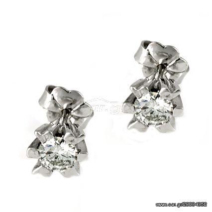 Λευκόχρυσα Μονόπετρα Σκουλαρίκια K18 με Διαμάντια Brilliant EO0206