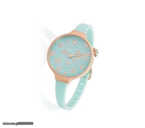 HOOPS Icon Stars Crystals Rose Gold Turquoise Rubber Strap 2562LS04