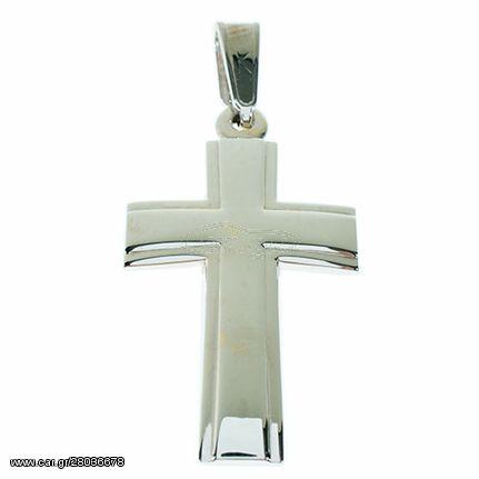 Σταυρός Βάπτισης 14Κ Λευκόχρυσο Ανδρικός ST829