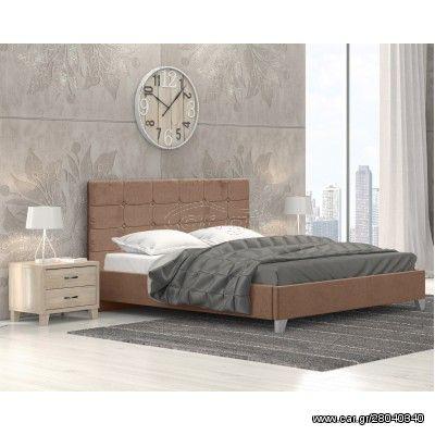 Remy Ντυμένο Κρεβάτι Διπλό 170x215εκ. Ύφασμα Μπεζ (για στρώμα 160x200εκ.)