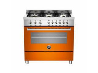 La Germania PRO90 6 HYB S AR T Πορτοκαλί Κουζίνα Με 6 Εστίες Αερίου & Φούρνο Υβριδικό - Σε 24 άτοκες δόσεις