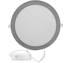 Φωτιστικό Ψευδοροφής Αλουμινίου Στρογγυλό Λεπτό LED 30W 4000K 120' Ασημί 21-030161 Adeleq
