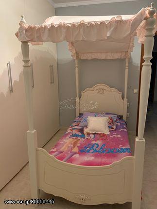 ΣΕΤ κρεβατοκάμαρας: 1 ) Κρεβάτι με υφασμάτινο ουρανό 2 )Στρώμα κρεβατιού 3 )Βιβλιοθήκη