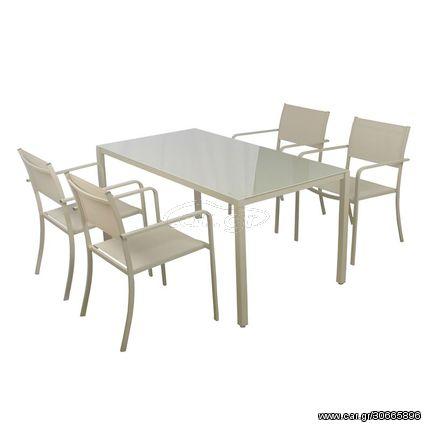 SYLVIA Set (Τραπέζι 150x80+4 Πολυθρόνες) Μεταλ.Sand/Textilene Μπεζ
