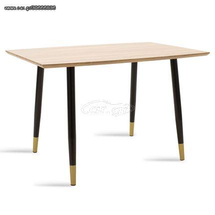 Τραπέζι Mateo Pakoworld Επιφάνεια Mdf Sonoma-Μαύρο 120X80X76Εκ
