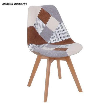 MARTIN Καρέκλα PP, Ύφασμα Patchwork Brown