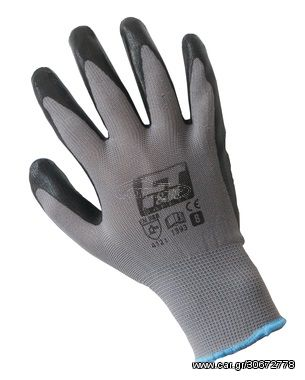 F&T 1393 Σετ 12 Ζευγάρια Επαγγελματικά Γάντια Προστασίας Επικάλυψης Νιτριλίου (Νούμερο 8)