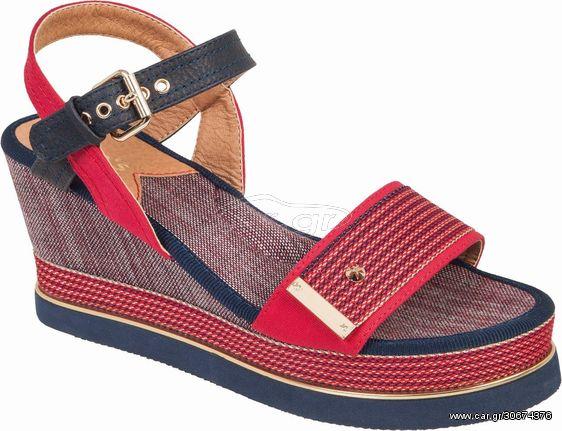 Γυναικεία πλατφόρμα πέδιλο Adams Shoes 1-820-20005-29 ΚΟΚΚΙΝΟ ΠΛΑΤΦΟΡΜΑ