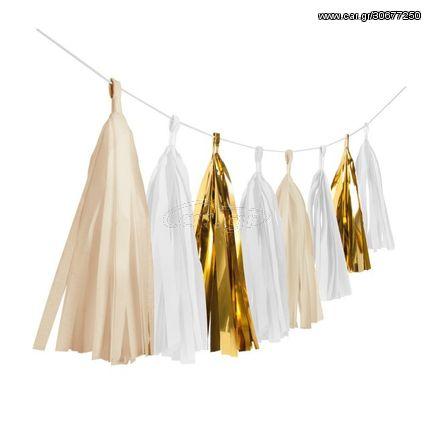 Γιρλάντα με Φούντες Gold Brush 3m