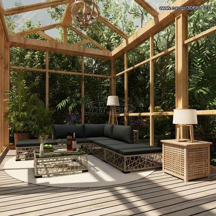 Σαλόνι Κήπου 6 Τεμαχίων Γκρι από Συνθετικό Ρατάν με Μαξιλάρια