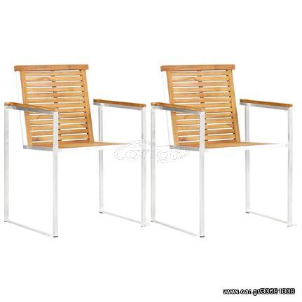 Καρέκλες Κήπου 2 τεμ. από Μασίφ Ξύλο Teak/Ανοξείδωτο Ατσάλι