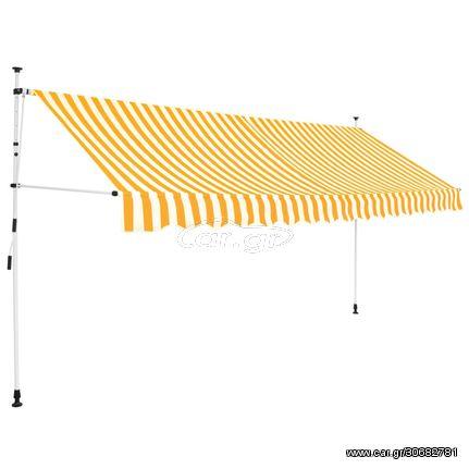 Τέντα Συρόμενη Χειροκίνητη Κίτρινες και Λευκές Ρίγες 400 εκ.
