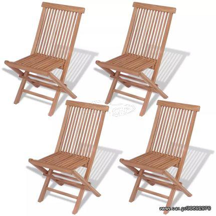 Καρέκλες Εξωτερικού Χώρου Πτυσσόμενες 4 τεμ. Μασίφ Ξύλο Teak