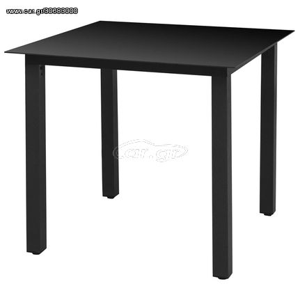 Τραπέζι Κήπου Μαύρο 80 x 80 x 74 εκ. από Αλουμίνιο / Γυαλί