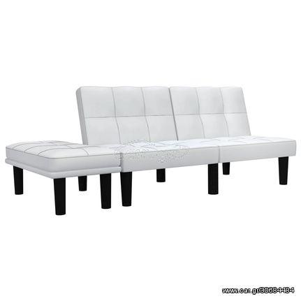 Καναπές Διθέσιος Λευκός από Συνθετικό Δέρμα