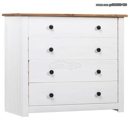 Συρταριέρα Λευκή 80 x 40 x 73 εκ. από Ξύλο Πεύκου Σειρά Panama