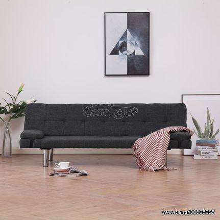 Καναπές - Κρεβάτι με Δύο Μαξιλάρια Σκούρο Γκρι από Πολυεστέρα