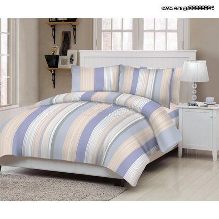 Κουβερλί ΚΟΜΒΟΣ Cotton Line Printed LINES BLUE Μονό 160x240