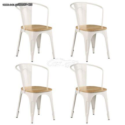 Καρέκλες Τραπεζαρίας 4 τεμ. Λευκές από Μασίφ Ξύλο Μάνγκο