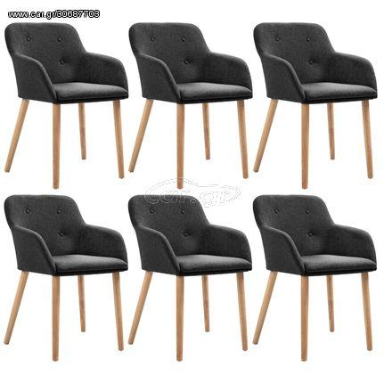 Καρέκλες Τραπεζαρίας 6 τεμ. Σκούρο Γκρι Ύφασμα/Μασίφ Ξύλο Δρυός