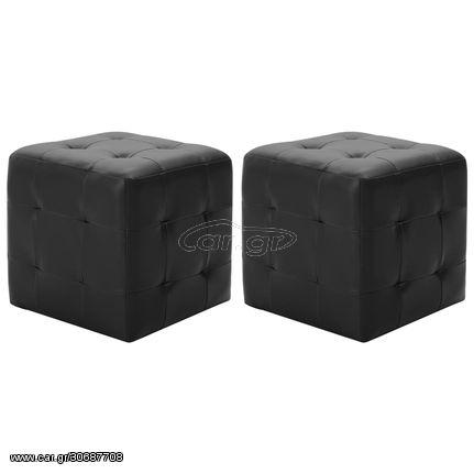 Σκαμπό Πουφ 2 τεμ. Μαύρα 30 x 30 x 30 εκ. από Συνθετικό Δέρμα