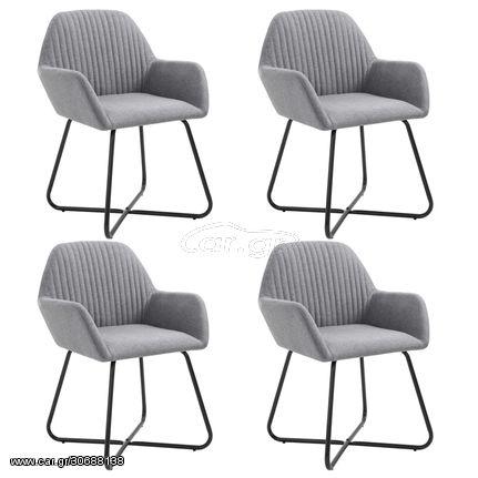 Καρέκλες Τραπεζαρίας 4 τεμ. Ανοιχτό Γκρι Υφασμάτινες