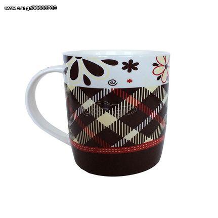 Κούπα Πορσελάνης Χαμηλή Καρό Λευκό 12oz  Home - Style 24016173-48/12-1