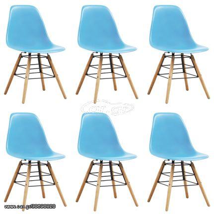 Καρέκλες Τραπεζαρίας 6 τεμ. Μπλε Πλαστικές