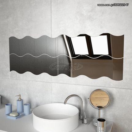Καθρέφτες Τοίχου 4 τεμ. Κυματιστοί 60 x 18,5 εκ. Γυάλινοι