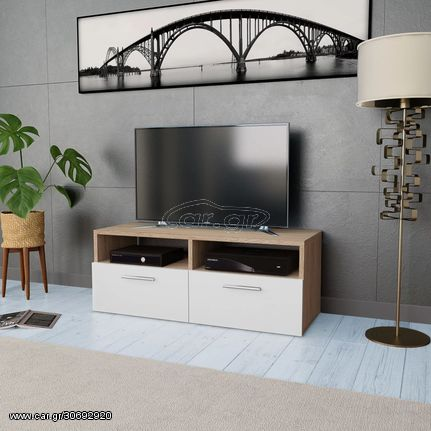 Έπιπλο Τηλεόρασης Δρυς / Λευκό 95 x 35 x 36 εκ. από Μοριοσανίδα