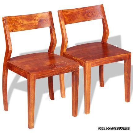 Καρέκλες Τραπεζαρίας 2 τεμ. από Μασίφ Ξύλο Ακακίας & Sheesham