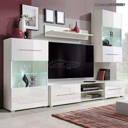 Σύνθετο Τηλεόρασης με Φωτισμό LED 5 τεμ. Λευκό