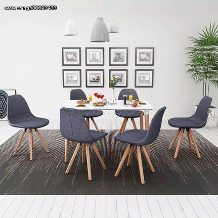 Σετ Τραπεζαρίας με Καρέκλες Επτά Τεμαχίων Λευκό & Σκούρο Γκρι