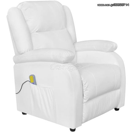 Πολυθρόνα Μασάζ Λευκή από Συνθετικό Δέρμα