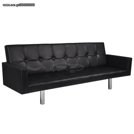 Καναπές - Κρεβάτι με Μπράτσα Μαύρος από Συνθετικό Δέρμα
