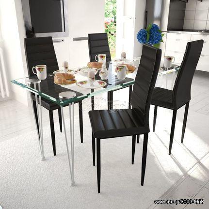 Καρέκλες Τραπεζαρίας 4 τεμ. Μαύρες από Συνθετικό Δέρμα