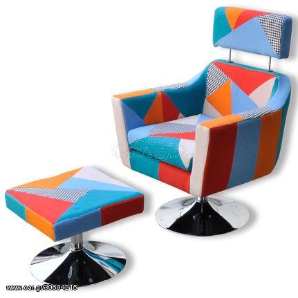 Πολυθρόνα με Σχέδιο Patchwork Υφασμάτινη
