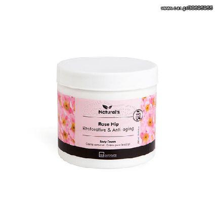 IDC Natural's Body Cream με Αναζωογονητική + Αντιγηραντική κρέμα με Τριαντάφυλλο 400ml