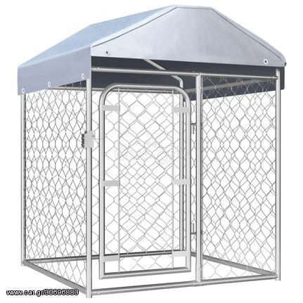 Κλουβί Σκύλου Εξωτερικού Χώρου 100 x 100 x 125 εκ. με Στέγαστρο
