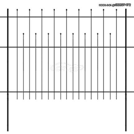 Φράχτης Ασφαλείας με Μυτερή Κορυφή Μαύρος 600x150 εκ. Ατσάλινος