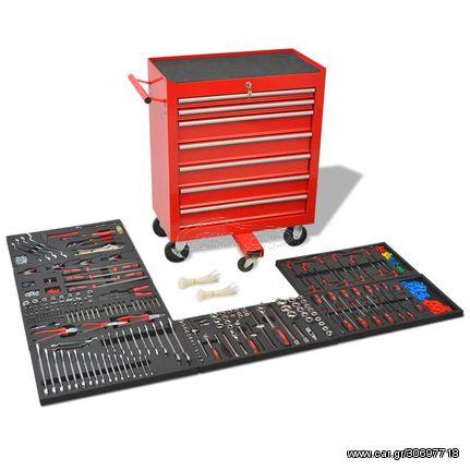 Εργαλειοφόρος Τροχήλατος με 1125 Εργαλεία Κόκκινος Ατσάλινος