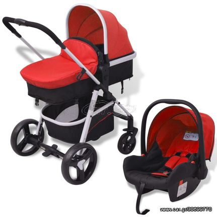 Καροτσάκι Παιδικό 3 σε 1 Κόκκινο και Μαύρο Αλουμινίου