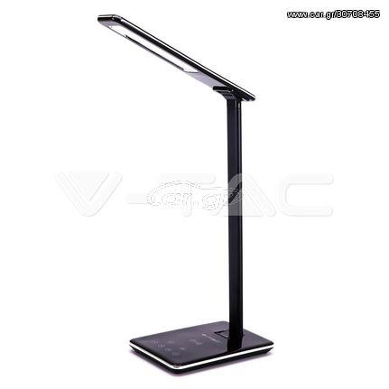 V-TAC Επιτραπέζιο φωτιστικό LED 5W με ασύρματο φορτιστή τετραγωνικό μαύρο