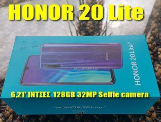160€ Huawei HONOR 20 Lite 128GB 6,21'' ΙΝΤΣΕΣ 32MP Selfie CAMERA Dual Sim 4GB RAM ΟΚΤΑΠΥΡΗΝΟ καινούριο BEST PRICE !! διαθέσιμο