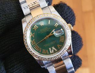 rolex replica γυναικειo datejust πράσινη πλάκα 36μμ με ζιργκον στεφάνη
