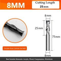 Κοπτικό κονδύλι καρβιδίου - D8 L25 Δίπτερο HRC50 για CNC Router - 2 Flute End mill - φρέζες