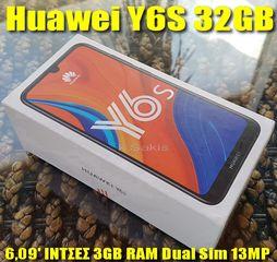 100€ Huawei Y6S 6,09'' ΙΝΤΣΕΣ DUAL SIM 32GB ROM 3GB RAM 13MP Camera ΟΚΤΑΠΥΡΗΝΟ καινούριο !! BEST PRICE !!